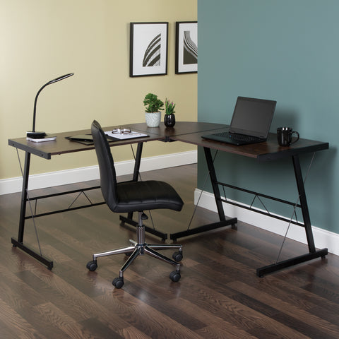 "OFM Essentials Collection 60"" Metal Frame L-Shaped Desk, Corner Computer Desk, in Wenge (ESS-1021 -BLK-WEN) ; UPC: 192767000086 ; Image 12"
