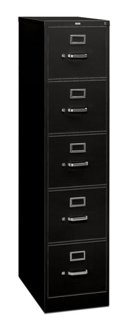 HON 5 Drawer Filing Cabinet - 310 Series Full-Suspension Legal File Cabinet, 26-1/2-Inch Drawers, Black (315CPP) ; UPC: 089192040810 ; Image 1