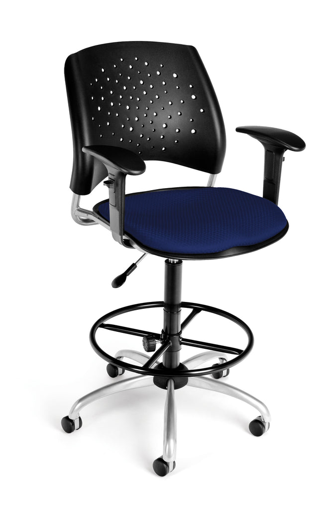 OFM Stars Series Model 326-AA3-DK Fabric Swivel Task Chair with Arms and Drafting Kit, Navy ; UPC: 845123013236 ; Image 1