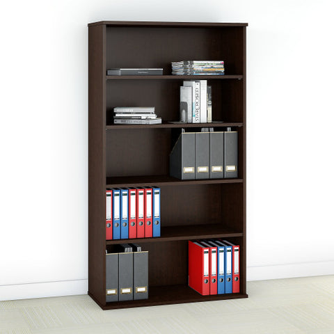 Bush Office in an Hour 66H 5 Shelf Bookcase, Mocha Cherry OIAH014MR ; UPC: 042976076054 ; Image 2