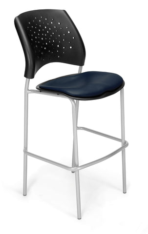 OFM 328S-VAM-605 Stars Cafe Height Vinyl Silver Chair, Navy ; UPC: 845123012895 ; Image 1