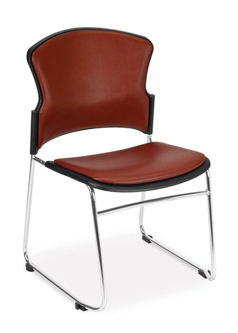OFM Contract Anti-Microbial Vinyl Stack Chair, Wine ; UPC: 811588013913 ; Image 1