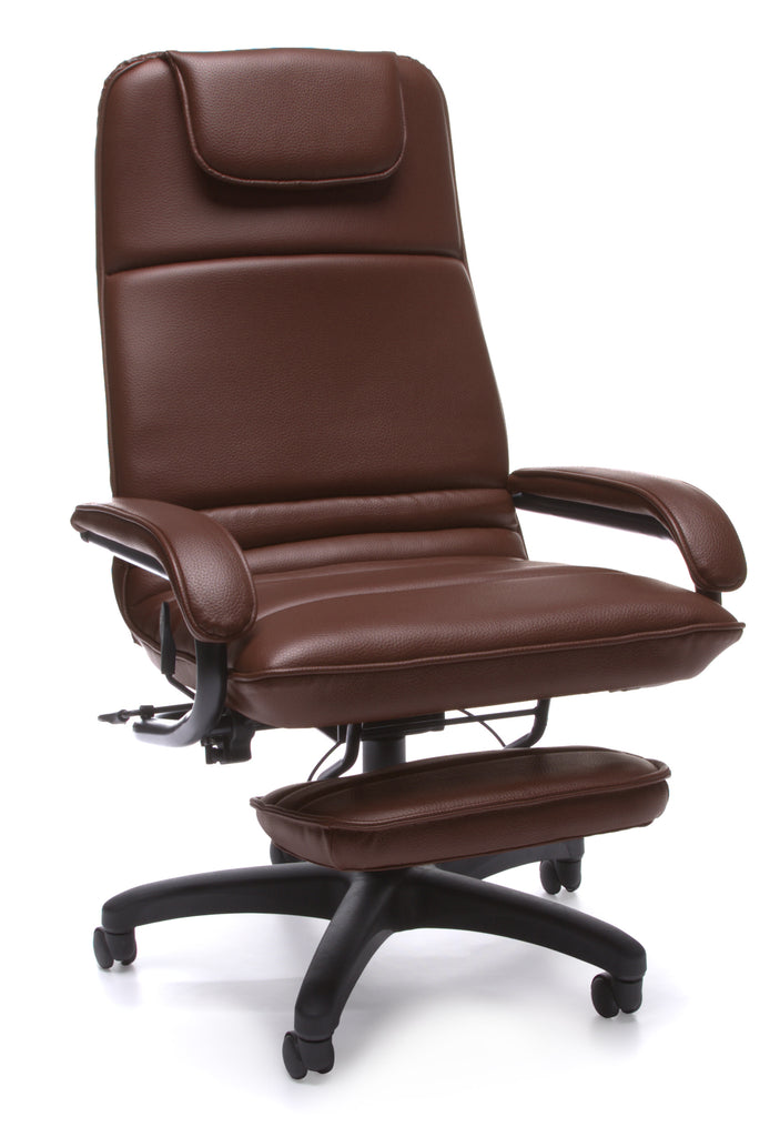 OFM Model 680 Ergonomic High-Back Executive Reclining Office Chair with Footrest, Anti-Microbial/Anti-Bacterial Vinyl, Burgundy ; UPC: 811588015375 ; Image 1