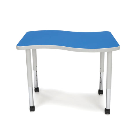 OFM Adapt Series Small Wave Student Table - 20-28? Height Adjustable Desk with Casters, Blue (WAVE-S-SLC) ; UPC: 845123096222 ; Image 3