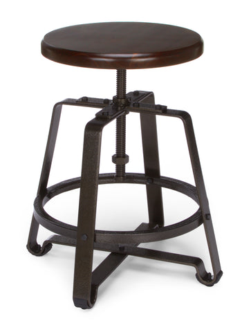 OFM Endure Series Model 921 Stationary Small Stool, Polyurethane, Walnut Wood with Dark Vein Metal Frame ; UPC: 845123034422 ; Image 1
