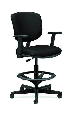 HON Volt Task Stool | Extended Height, Footring | Adjustable Arms | Black Fabric ; UPC: 192767001021 ; Image 1