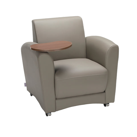 OFM InterPlay Series Single Seat Chair with Bronze Tablet, in Taupe (821-PU607-BRONZ) ; UPC: 845123030981 ; Image 1