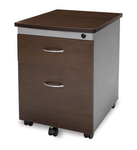 OFM Model 55106 Modular Wheeled Mobile 2-Drawer File Cabinet Pedestal, Walnut ; UPC: 845123030295 ; Image 1