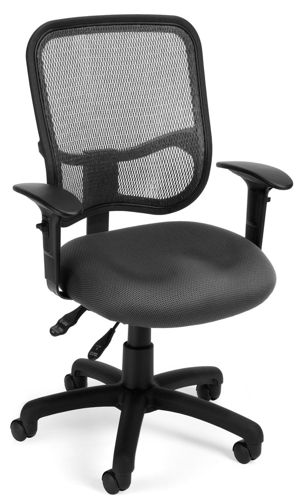 OFM Comfort Series Model 130-AA3 Ergonomic Mesh Swivel Task Chair with Arms, Mid Back, Gray ; UPC: 845123011676 ; Image 1