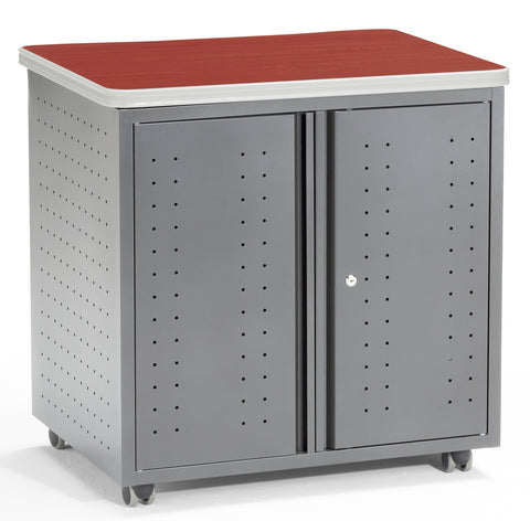 OFM Mesa Series Model 66746 Wheeled Locking Mobile Utility Station Cabinet with Laminate Top, Cherry ; UPC: 811588012138 ; Image 1