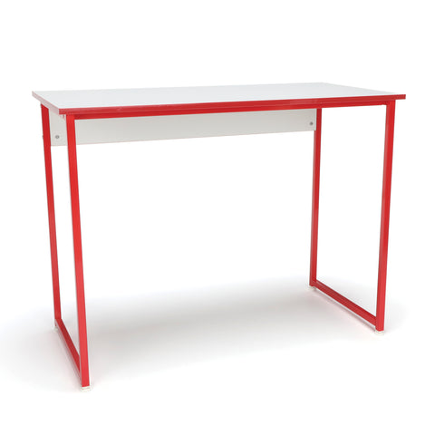 Essentials by OFM ESS-1040 Office/Computer Desk and Workstation with Metal Legs, White with Red Frame ; UPC: 845123095539 ; Image 1