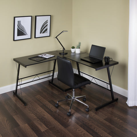 "OFM Essentials Collection 60"" Metal Frame L-Shaped Desk, Corner Computer Desk, in Black (ESS-1021 -BLK-BLK) ; UPC: 192767000079 ; Image 12"
