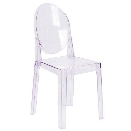 Flash Furniture Ghost Chair with Oval Back in Transparent Crystal OWGHOSTBACK18GG ; Image 1 ; UPC 889142083467