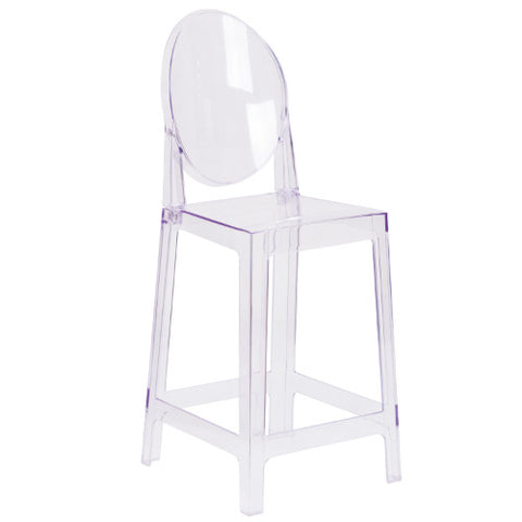 Flash Furniture Ghost Counter Stool with Oval Back in Transparent Crystal OWGHOSTBACK24GG ; Image 1 ; UPC 889142083504