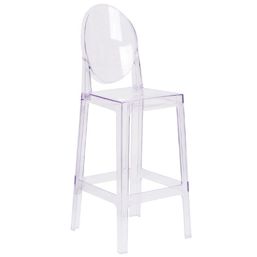 Flash Furniture Ghost Barstool with Oval Back in Transparent Crystal OWGHOSTBACK29GG ; Image 1 ; UPC 889142083542