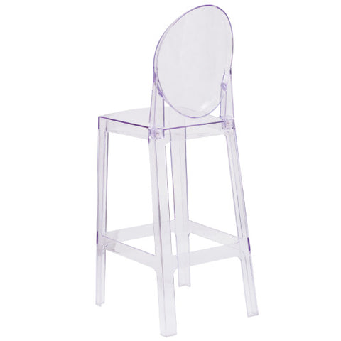Flash Furniture Ghost Barstool with Oval Back in Transparent Crystal OWGHOSTBACK29GG ; Image 3 ; UPC 889142083542