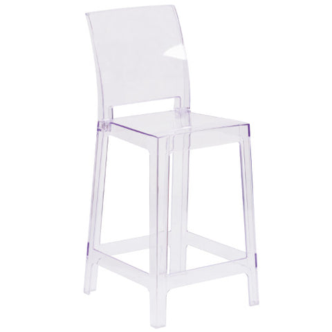 Flash Furniture Ghost Counter Stool with Square Back in Transparent Crystal OWSQUAREBACK24GG ; Image 1 ; UPC 889142083511