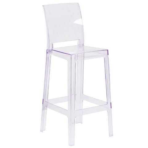 Flash Furniture Ghost Barstool with Square Back in Transparent Crystal OWSQUAREBACK29GG ; Image 1 ; UPC 889142083559