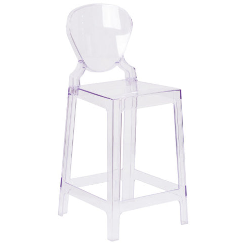 Flash Furniture Ghost Counter Stool with Tear Back in Transparent Crystal OWTEARBACK24GG ; Image 1 ; UPC 889142083535