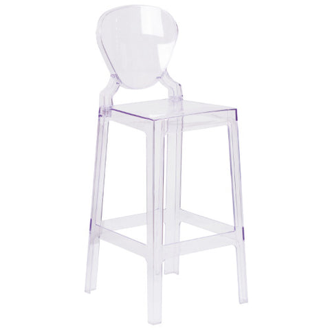 Flash Furniture Ghost Barstool with Tear Back in Transparent Crystal OWTEARBACK29GG ; Image 1 ; UPC 889142083573