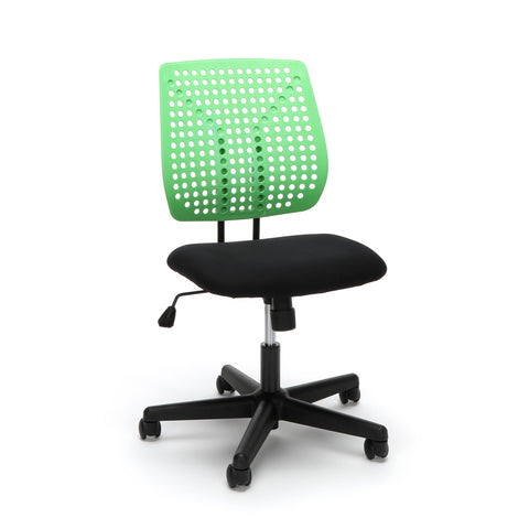 Essentials by OFM ESS-2050 Plastic Back Task Chair, Black with Green ; UPC: 845123092989 ; Image 1