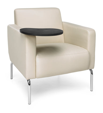 OFM Triumph Series Model 3002T Polyurethane Modular Lounge Chair with Arms and Tungston Tablet, Cream ; UPC: 845123029893 ; Image 1