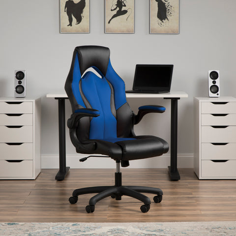 OFM Essentials Collection High-Back Racing Style Bonded Leather Gaming Chair, in Blue (ESS-3086-BLU) ; UPC: 845123090633 ; Image 14