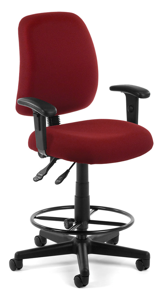 OFM Posture Series Model 118-2-AA-DK Drafting Task Chair, Fabric, Mid-Back, Wine ; UPC: 845123011232 ; Image 1