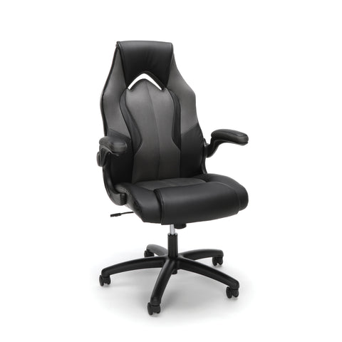 Essentials by OFM ESS-3086 High-Back Racing Style Bonded Leather Gaming Chair, Gray ; UPC: 192767001182 ; Image 1
