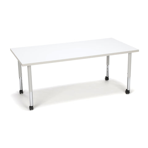 OFM Adapt Series Rectangle Student Table - 20-28? Height Adjustable Desk with Casters, White (RECT-SLC) ; UPC: 845123096659 ; Image 1