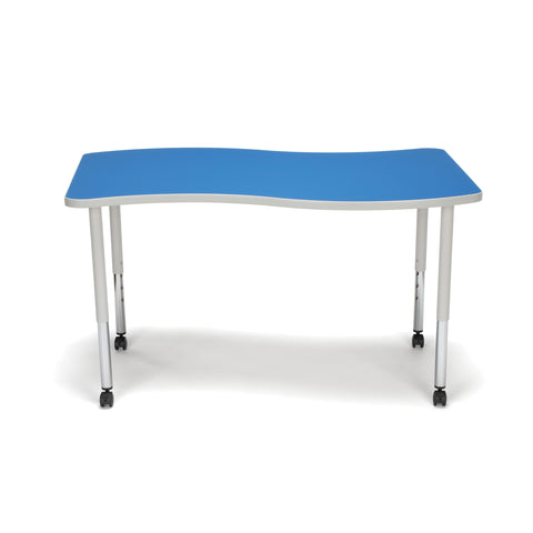 OFM Adapt Series Large Wave Standard Table - 25-33? Height Adjustable Desk with Casters, Blue (WAVE-L-LLC) ; UPC: 845123096147 ; Image 3