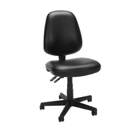 OFM Straton Series Armless Swivel Task Chair, Anti-Microbial/Anti-Bacterial Vinyl, Mid Back, in Black (119-VAM-606) ; UPC: 811588012664 ; Image 1