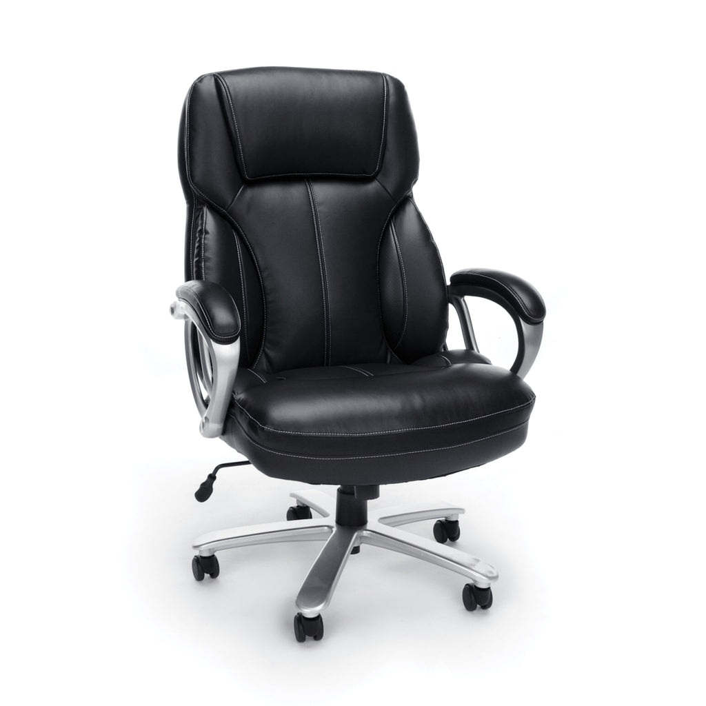 Essentials by OFM ESS-202 Big and Tall Leather Executive Office Chair with Arms, Black/Silver ; UPC: 845123080139 ; Image 1