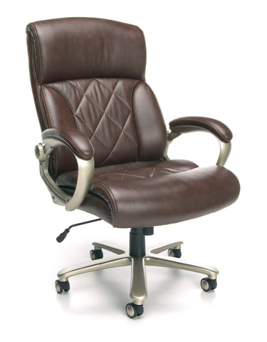 OFM Avenger Series Model 812-LX Leather High-Back Big and Tall Executive Chair, Brown with Champagne Finish ; UPC: 845123051856 ; Image 1