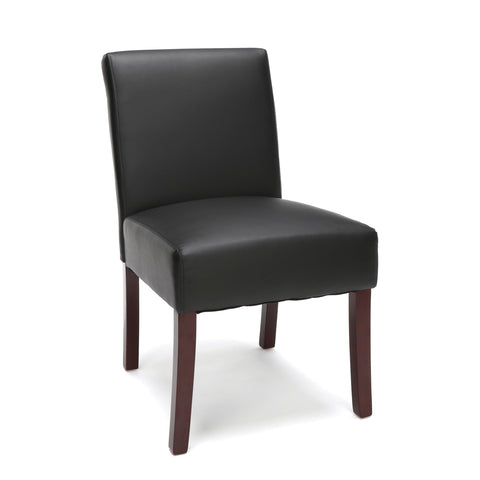 Essentials by OFM ESS-9020 Bonded Leather Executive Armless Guest Chair with Wooden Legs, Black ; UPC: 845123093153 ; Image 1