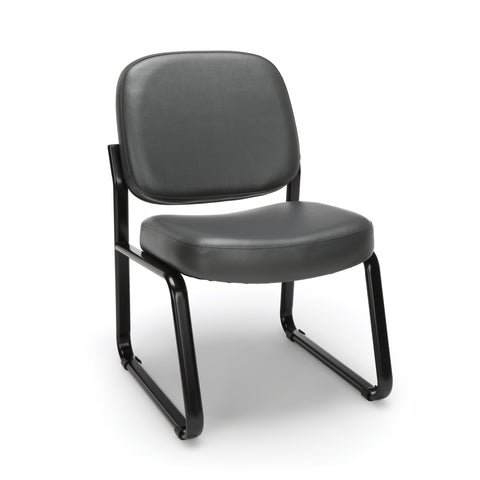 OFM Model 405-VAM Armless Guest and Reception Chair, Anti-Microbial/Anti-Bacterial Vinyl, Charcoal ; UPC: 811588014347 ; Image 1