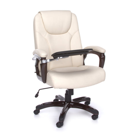 OFM Oro Series Model ORO300 Ergonomic Letaher Multi-Task Office Chair with Tablet, Cream ; UPC: 845123039199 ; Image 1