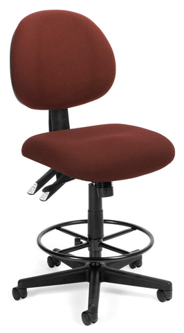 OFM 241-DK 24 Hour Ergonomic Upholstered Armless Task Chair with Drafting Kit, Burgundy ; UPC: 845123012512 ; Image 1