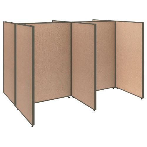 Bush Business Furniture ProPanels 96W x 72D x 66H 4 Person Open Cubicle Configuration in Harvest Tan ; UPC:042976040987