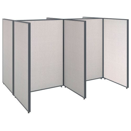Bush Business Furniture ProPanels 96W x 72D x 66H 4 Person Open Cubicle Configuration in Light Grey ; UPC:042976041007