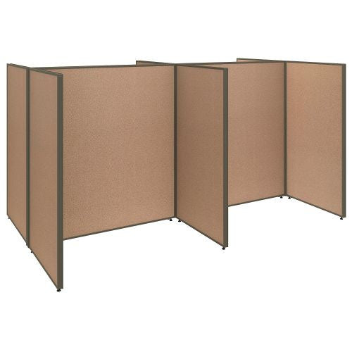 Bush Business Furniture ProPanels 120W x 72D x 66H 4 Person Open Cubicle Configuration in Harvest Tan ; UPC:042976041021