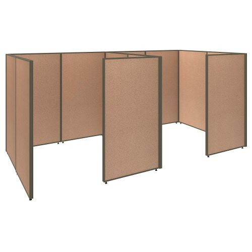 Bush Business Furniture ProPanels 144W x 72D x 66H 2 Person Closed Cubicle Configuration in Harvest Tan ; UPC:042976041069