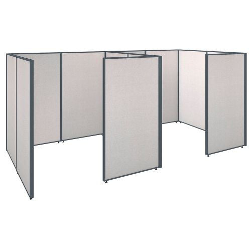 Bush Business Furniture ProPanels 144W x 72D x 66H 2 Person Closed Cubicle Configuration in Light Grey ; UPC:042976041083