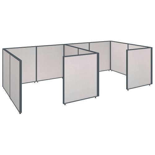Bush Business Furniture ProPanels 144W x 72D x 42H 2 Person Closed Cubicle Configuration in Light Grey ; UPC:042976041366
