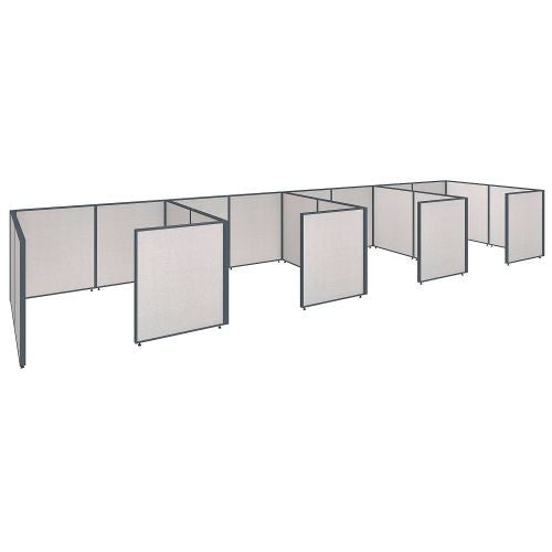 Bush Business Furniture ProPanels 288W x 72D x 42H 4 Person Closed Cubicle Configuration in Light Grey ; UPC:042976041496