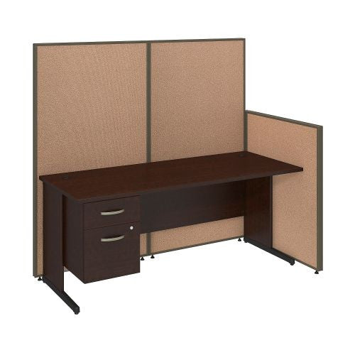 Bush Business Furniture 72W C-Leg Desk with 3/4 Pedestal in Mocha Cherry and Harvest Tan ProPanels ; UPC:042976046583