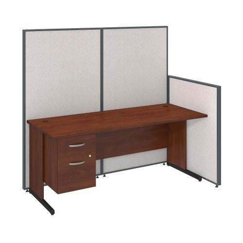Bush Business Furniture 72W C-Leg Desk with 3/4 Pedestal in Hansen Cherry and Light Grey ProPanels ; UPC:042976046590