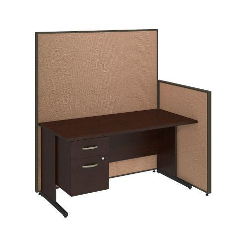 Bush Business Furniture 60W C-Leg Desk with 3/4 Pedestal in Mocha Cherry and Harvest Tan ProPanels ; UPC:42976047504