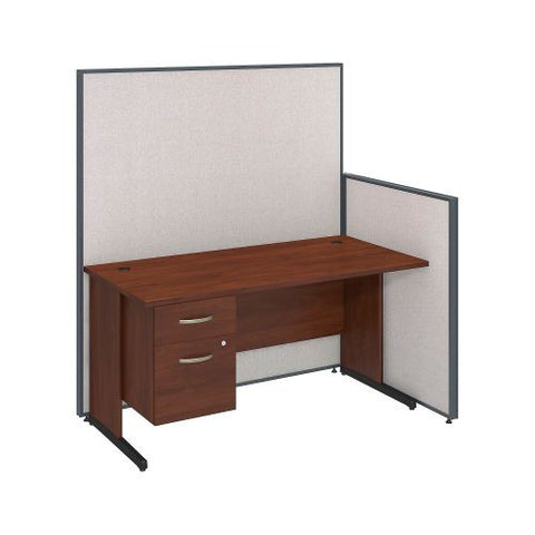 Bush Business Furniture 60W C-Leg Desk with 3/4 Pedestal in Hansen Cherry and Light Grey ProPanels ; UPC:042976046606
