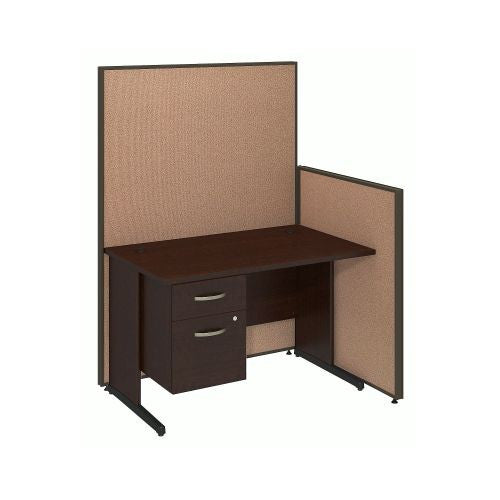 Bush Business Furniture 48W C-Leg Desk with 3/4 Pedestal in Mocha Cherry and Harvest Tan ProPanels ; UPC:042976046613